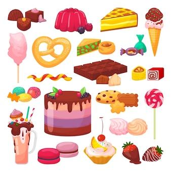 Süße desserts satz illustrationen. kuchen mit sahne, schokolade, gebäck, bäckerei und desserts, donut, cupcake, makrone. eclair, kuchen, muffin oder süßigkeiten, geleeplätzchensammlung