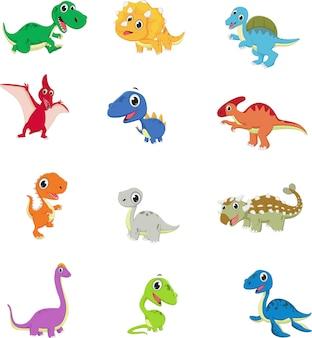 Süße dinosaurier cartoon sammlungssatz