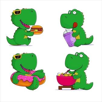 Süße dinosaurier, die fast-food-illustration essen