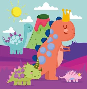 Süße dinosaurier mit landschaft