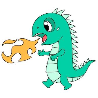 Süße dinosaurier spucken heiße flammen aus, niedliche doodle-charaktere zeichnen. vektor-illustration