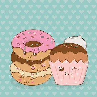 Süße donuts und cupcake kawaii-figuren