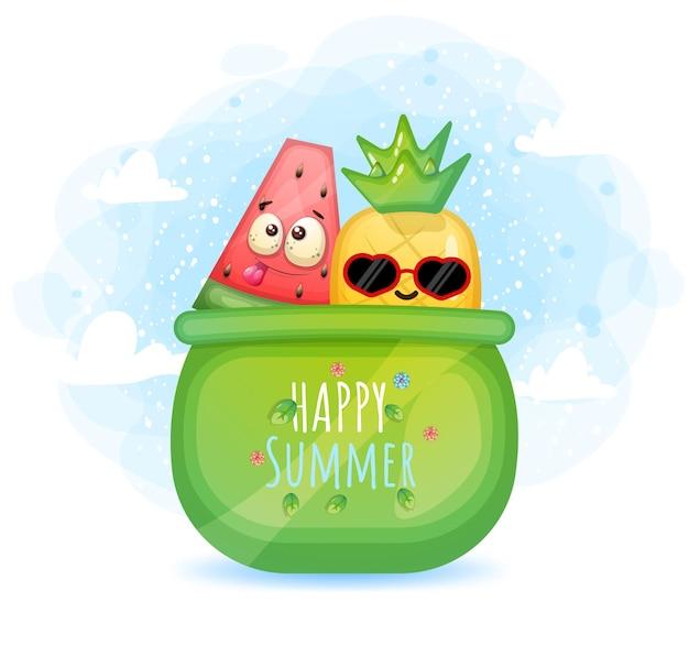 Süße doodle-ananas und wassermelone in einer schüssel. hallo sommergrußkarte