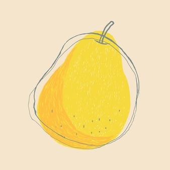Süße doodle-kunst-birnenfrucht
