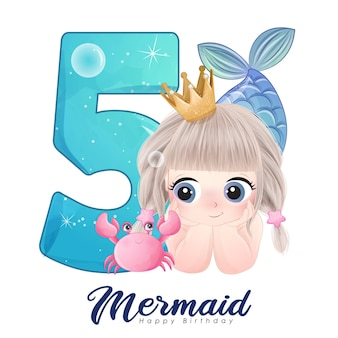 Süße doodle meerjungfrau karte mit nummer für geburtstagsfeier