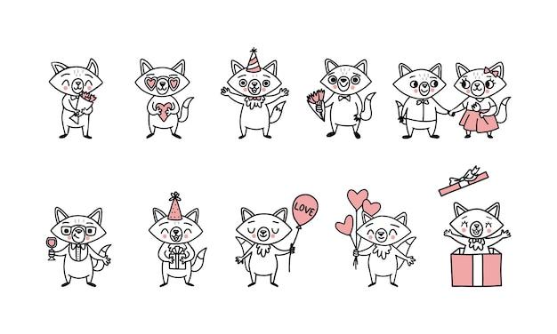 Süße doodle-vektor-füchse, große menge lustiger charaktere mit herzballons, geschenkboxen, ein blumenstrauß
