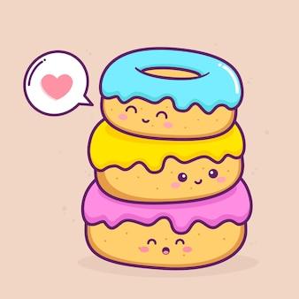 Süße drei donuts mit verschiedenen farben