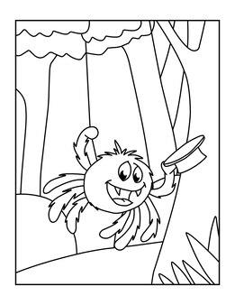 Süße druckbare spinne malvorlagen für kinder
