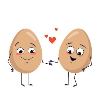 Süße eierfiguren mit liebesgefühlen, gesicht, armen und beinen. fröhliche osterdekoration. die lustigen oder fröhlichen food-helden verlieben sich ineinander. flache vektorgrafik