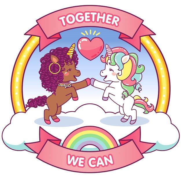 Süße einhörner zusammen können wir