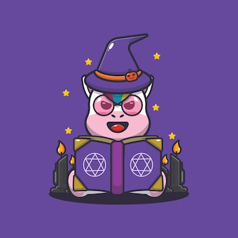 Süße einhorn hexe liest zauberbuch süße halloween karikaturillustration