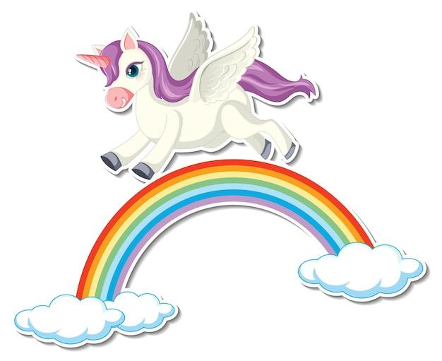Süße einhorn-sticker mit einem pegasus, der über den regenbogen fliegt