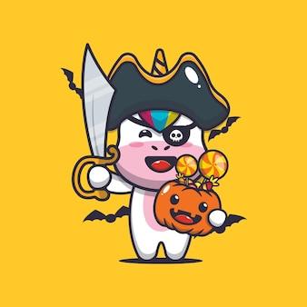 Süße einhornpiraten mit schwert, die halloween-kürbis tragen süße halloween-karikaturillustration
