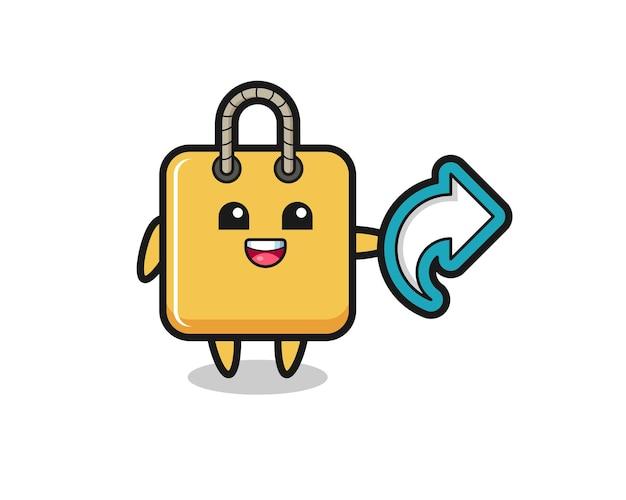 Süße einkaufstasche hält social-media-share-symbol, niedliches design für t-shirt, aufkleber, logo-element
