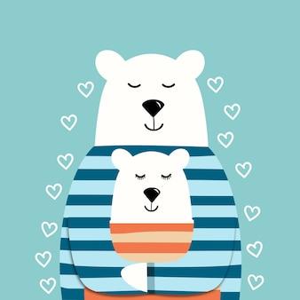 Süße eisbären in pullovern