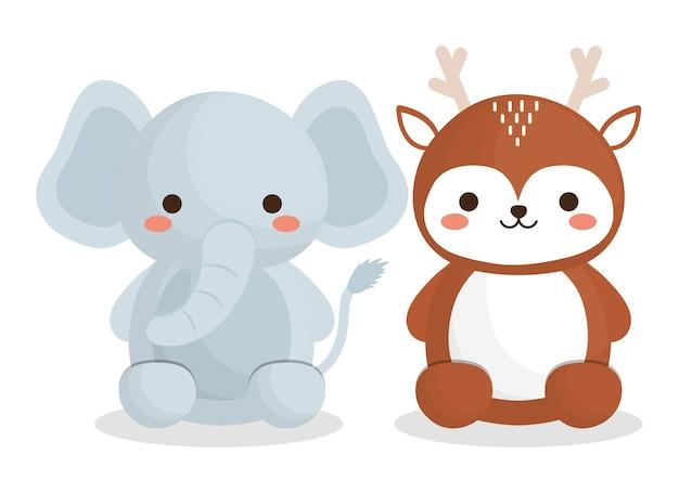 Süße elefanten und hirsche tiere symbol