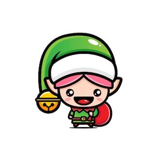 Süße elfen bringen weihnachtsgeschenke isoliert auf weiß