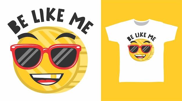 Süße emoticon-münze mit rotem brillen-t-shirt-design