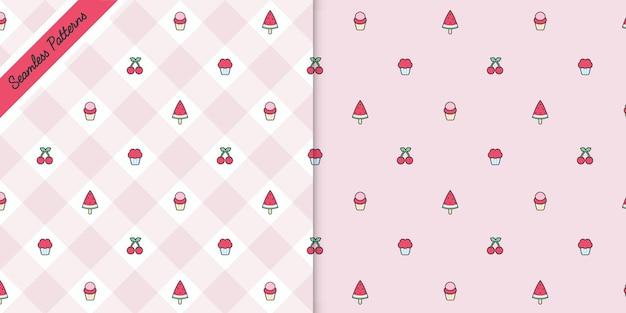 Süße erdbeeren und kirschen nahtlose muster premium-vektor