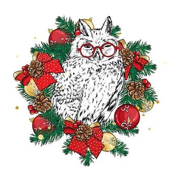 Süße eule in einem weihnachtskranz.