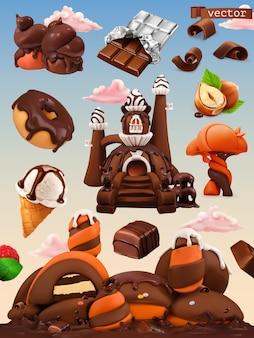 Süße fabrik. schokoladenschlosskarikaturillustration. 3d vektor icon set