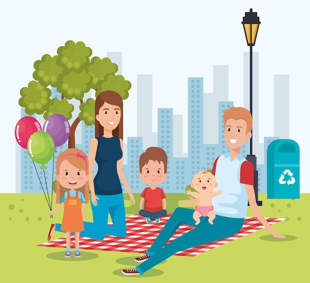 Süße familie glücklich in den tag des picknicks