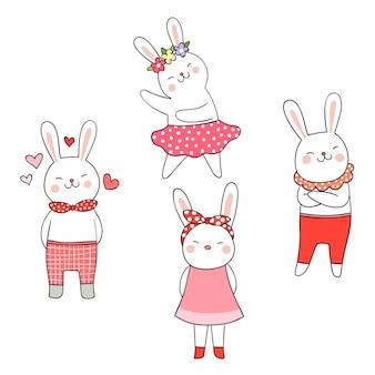 Süße farbe der niedlichen kaninchen der vektorillustration