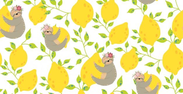 Süße faultiere auf den gelben zitronen. schöne nahtlose musterillustration.