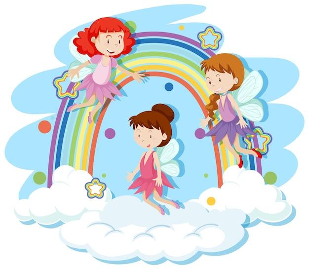 Süße feen, die in den himmel fliegen