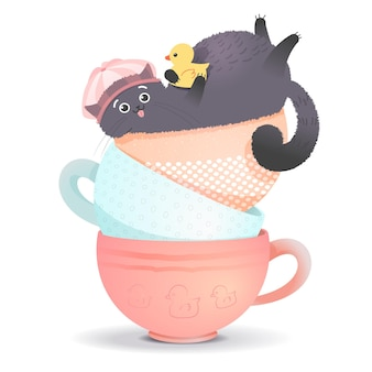 Süße fette katze mit einer gummiente badet in einer tasse-vektor-illustration im cartoon-stil