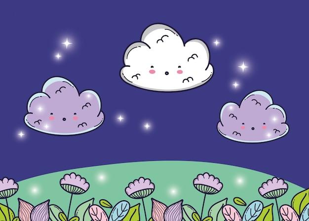 Süße flauschige wolken mit blumen und sternen