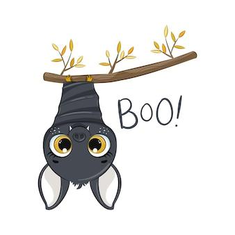 Süße fledermaus. glückliche halloween-illustration.
