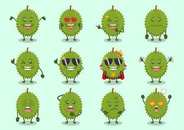 Süße frische durian charaktere gesetzt