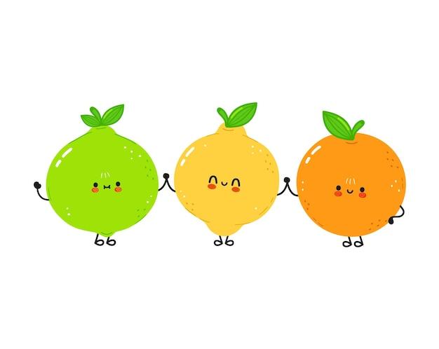 Süße fröhliche limetten-zitronen- und orangenfrucht