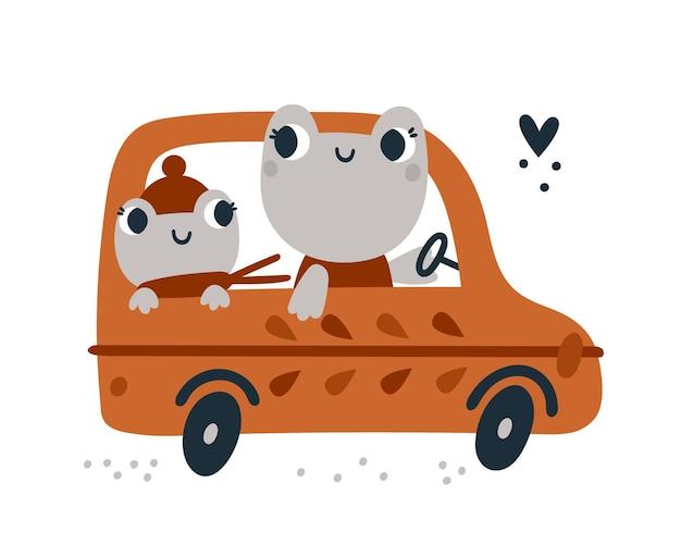 Süße frösche tiere, die mit dem auto reisen frosch in der automobil-meilensteinkarte