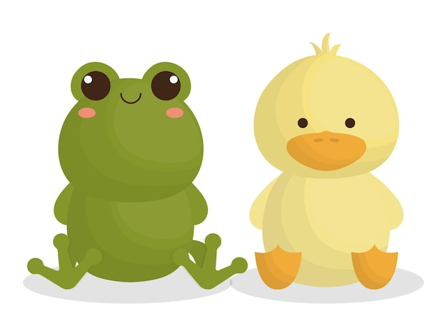 Süße frosch und ente tiere symbol