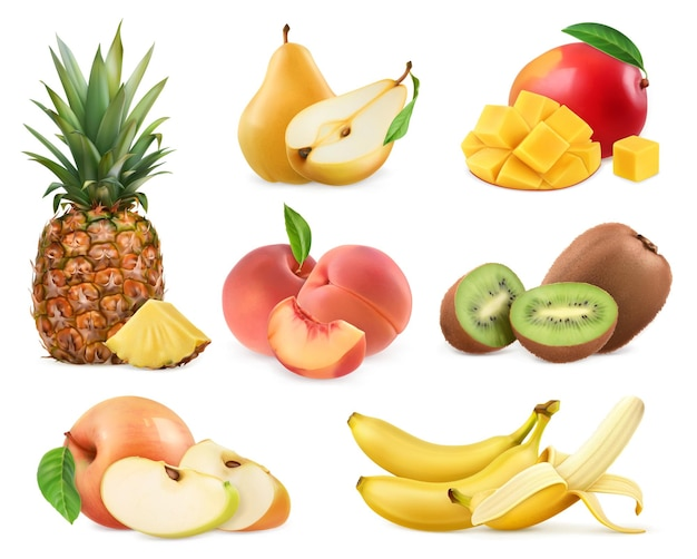 Süße frucht. banane, ananas, apfel, mango, kiwi, pfirsich, birne.