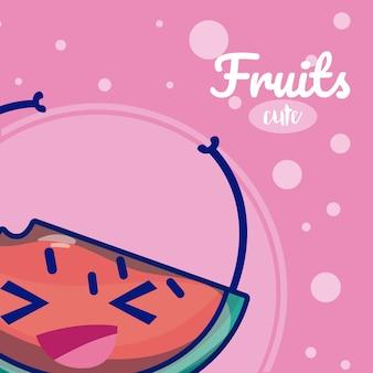 Süße fruchtkarikaturen der wassermelone