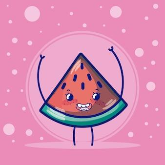 Süße früchte cartoons der wassermelone