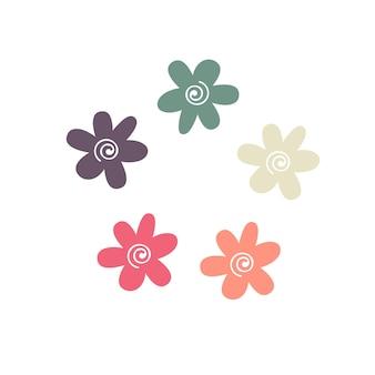 Süße frühlingsblumen in pastellfarben. wildblumen in verschiedenen farben. vektor-illustration.
