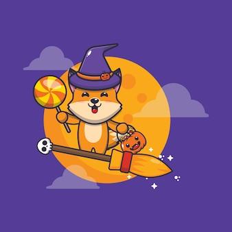 Süße fuchshexe fliege mit besen in halloween-nacht süße halloween-karikaturillustration