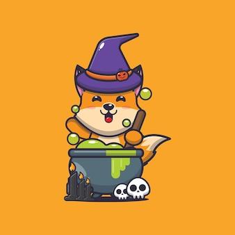 Süße fuchshexe macht tränke süße halloween-cartoon-illustration