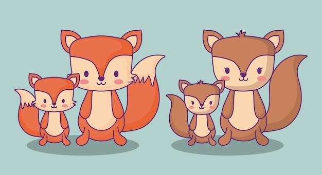 Süße füchse und eichhörnchen auf blauem hintergrund, buntes design. vektor-illustration