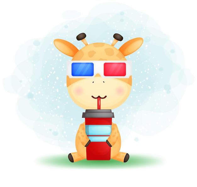 Süße gekritzel-babygiraffe trägt eine brille und trinkt für film