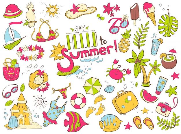 Süße gekritzel-sammlung des sommers. das meer, das meer, das