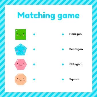 Süße geometrische figuren für kinder. matching-spiel.