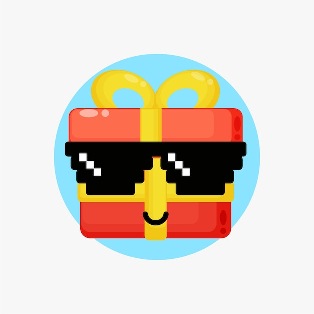 Süße geschenkbox-figur mit pixelbrille