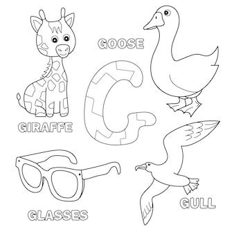 Süße giraffe, gans, brille, möwenbuchstabe g im kinderalphabet. handgezeichnete umriss-cartoon-figur und brief für kinderschrift, für babyentwicklungskarte, kinder abc