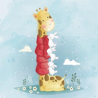 Süße giraffe und hasen