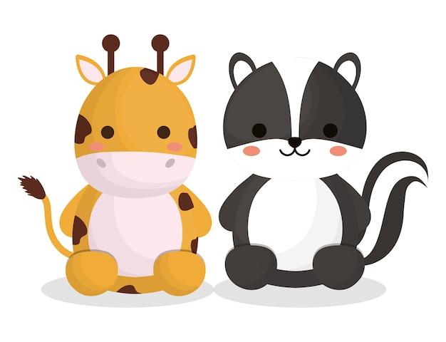 Süße giraffe und stinktier tiere symbol